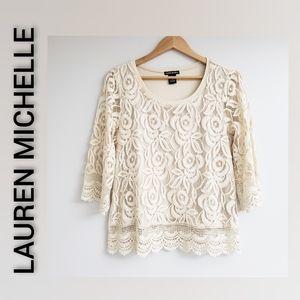 Lauren Michelle Lace Top 3/4 Sleeve Cream Large
